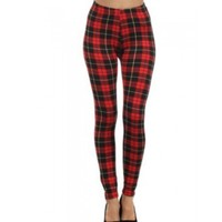 Red & Black Plaid Fleece Leggings