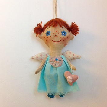 Doll Angel-Soft Doll-Miniature doll-Angel- Cloth art doll-OOAK doll-Textile doll-Stuffed doll-Fabric doll-Soft doll-Rag doll-Collecting doll