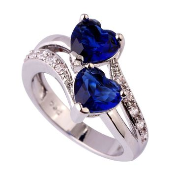 Heart Cut Love Style Jewelry Sapphire Quartz & White Topaz Gemstones Silver Fashion Ring