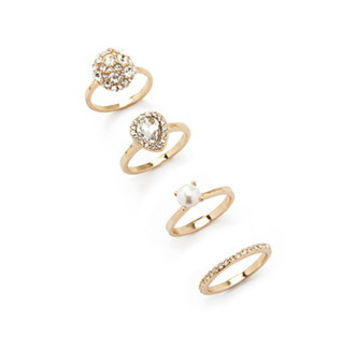 Rhinestoned Ring Set