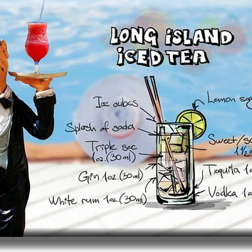 Long Island Iced Tea Cocktail Recipe Picture on Acrylic , Wall Art Decor, Ready to Hang!