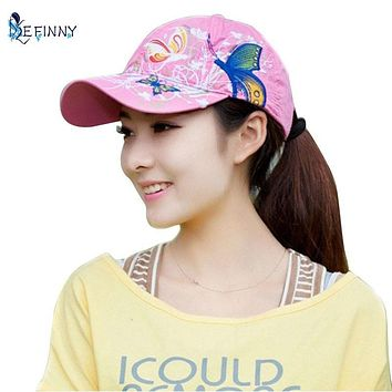 Summer Adjustable Baseball Cap Women Lady Flowers Butterfly Embroidered Hat