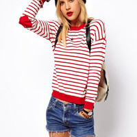 Striped Heart Patch Long Sleeve Knit Sweater