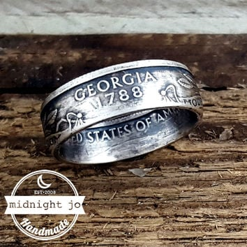 Georgia 90% Silver State Quarter Coin Ring