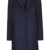 Wool Blend Contrast Hybrid Coat - Navy Blue