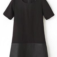 Black Short Sleeves Pu Panel Shift Dress
