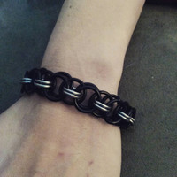 Black and silver tone Chainmail Bracelet helm weave