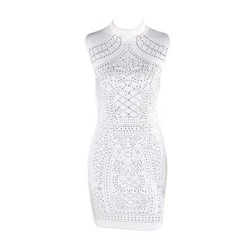 Sleeveless Studded Geometric Party Dress - Black or White