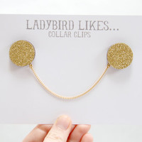 Gold Glittered Wooden Collar Clips