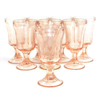 Pink Glass Goblets, Madrid / Recollection Pattern (Set of 8) - Depression Style Stemware, Indiana Glass Company - Vintage Home Kitchen Decor