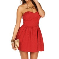 Red Jacquard Strapless Tunic
