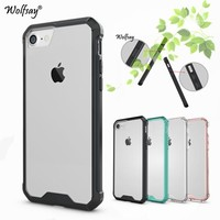 Wolfsay For Case iPhone 8 Plus Case Shockproof TPU + Transparent PC Case For iPhone 8 Plus Cover For Apple iPhone 8 Plus Fundas<