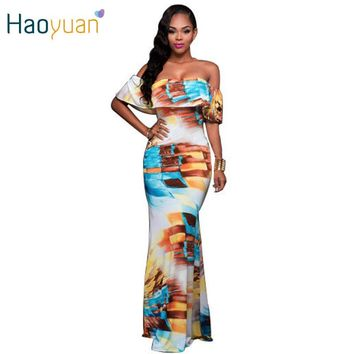 Summer Women Vintage Casual Beach Maxi Dress Robe Short Sleeve Slim Off Shoulder Long Dresses Sexy Bodycon Ruffle Dress Vestidos
