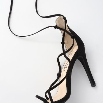Colina Black Suede Lace-Up Heels
