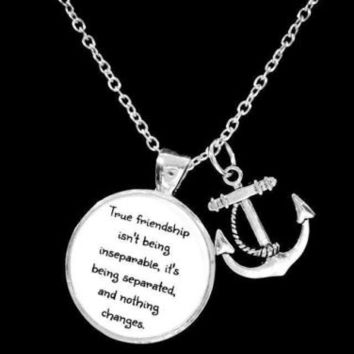 Best Friends True Friendship Long Distance Friend Sisters Anchor Gift Necklace