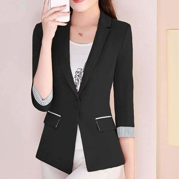 Slim Casual Female Suit Style Office Ladies Business Solid Color Women Coat Jackets Women's Clothing