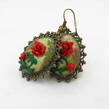 Beauty and the Beast inspired Beautiful Polymer clay applique  earrings, anniversary gift idea, Unique present for wife, girlfriend, Sister