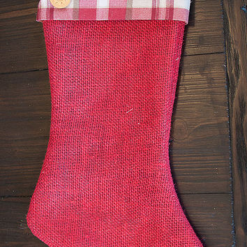 Plaid and Burlap Stocking, Red or Sage Burlap Christmas Stocking, Rustic Holiday Decor, Personalized Name Tags plus Embroidery Available