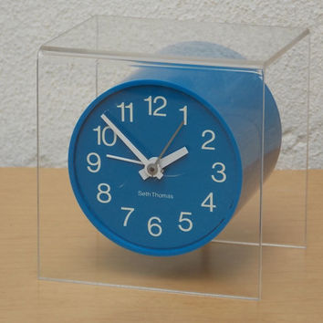 Seth Thomas Floating Blue Suspense Clock in Lucite