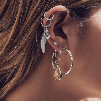 RAVINOUR 6PCS Hoop Earrings Women Boho Jewelry Feather Hand Palm Big Resin Water Drop Ear Cuff Vintage Earring Set Bohemian Aros