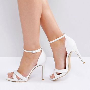 New Look Wide Fit Satin Ankle Strap Heeled Sandal at asos.com
