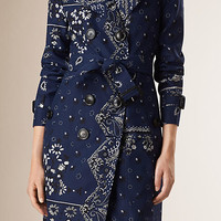 Paisley Print Silk Cotton Trench Coat
