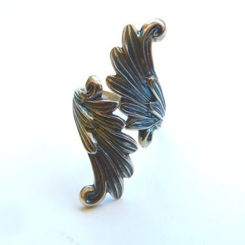 Vintage Sterling Bypass Ring Leaf Motif, Size 6 Adjustable Wrap Ring