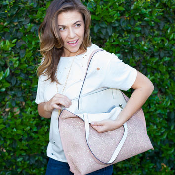 Laser Cut Reversible Leather Tote in Blush