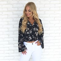 Look at Me Floral Wrap Blouse