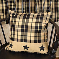 Primitive Star Vintage Farmhouse Decor Pillow - Black Plaid with Black Stars - 16-in Square