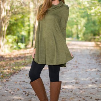 army Green Long Sleeve Cowl Neck Dress