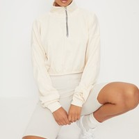 Cream Rib Zip Front Long Sleeve Sweater