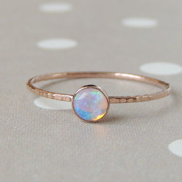 Opal Gold Stacking Ring, Rainbow Opal Ring, AAA Opal Ring, Birthstone Ring, Glowing Opal Jewelry, Unique Gift Idea, Gemstone Ring