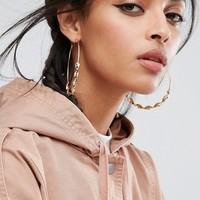 ASOS Large Twist 75mm Hoop Earrings at asos.com