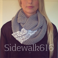 Grey Knit Lace Applique Infinity Scarf
