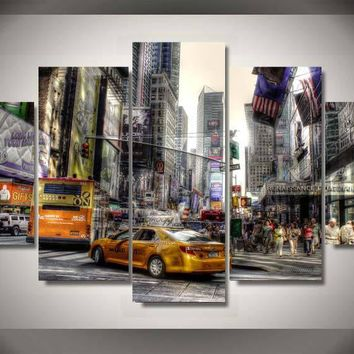 NYC New York City 5 Panel Pieces wall art on canvas abstract picture print