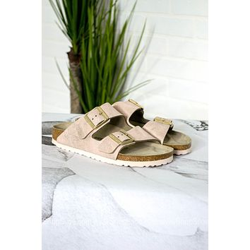 Arizona Washed Metallic Rose Gold Birkenstocks | Best Seller