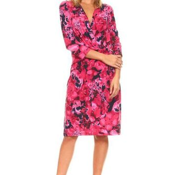 DCCKM83 Women's 3/4 Three Quarter Sleeve V-Neck Wrap Dress