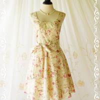 My Lady - Floral Tea Dress Party Day Dress Bridesmaid Dress Summer Floral Sundress Pale Yellow/Cream Dress All Season Dress XS-XL Custom