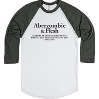 Aberzombie And Flesh (Henley edition)-Unisex White/Asphalt T-Shirt