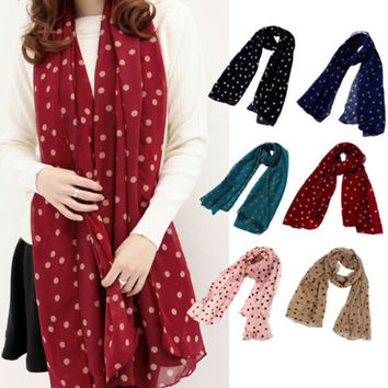 2014 New Stylish Girl Long Soft Silk Chiffon Scarf Wrap Polka Dot Shawl Scarves For Women Hot Sale
