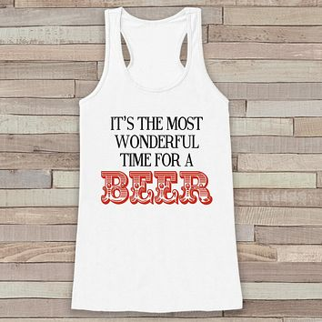 Most Wonderful Time of the Beer Tank - Funny Adult Christmas Shirt - Drinking Shirt - Womens White Tank - Funny Beer Top - Holiday Gift Idea