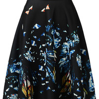 Multicolor Abstract GEO Print Elastic Waist Midi Skirt