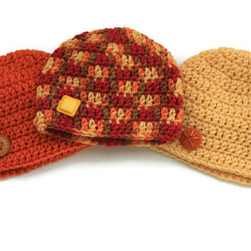 Autumn Baby hats pumpkin orange, cornflower yellow, brown and hot pink Fall shower set of three crochet newborn 0-3 month photo prop