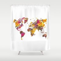 World Map yellow flowers Shower Curtain by Jbjart