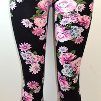 E&K All Over Floral Print Stretch Leggings