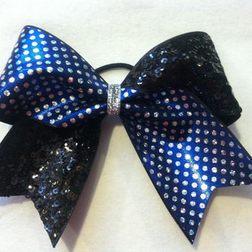 "3"", 3 inch cheer cheerleader bow holographic royal blue and silver dots and black sequins-Team Bows"