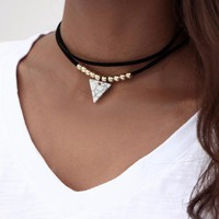 Triangle Stone Double Layer Unicorn Fashion Choker Necklace