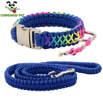 High Quality Parachute Colorful Dog Collar Rainbow Paracord Pet Collar Silvery Buckle D Ring With Chinese Knot For Any Dog