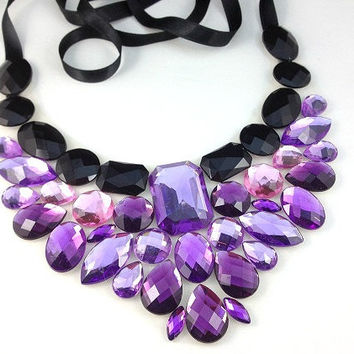 purple bib necklace big rhinestone unique necklace bridal, wedding, christmas necklace purple statement necklaces